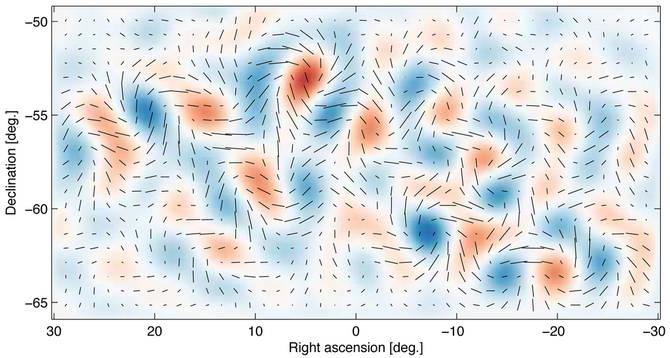 Prva slika gravitacijskih valov, ki so jo sestavili na podlagi meritev teleskopa BICEP-2 in dejansko predstavljajo prve tresljaje velikega poka. Vir : projekt BICEP-2 [6]