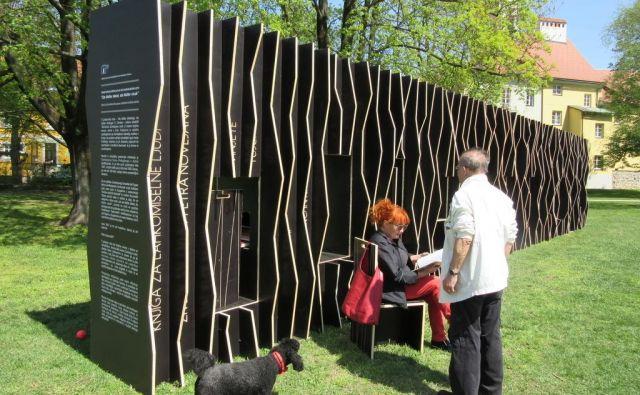 Uporabna inštalacija Srednje šole za gradbeništvo in varovanje okolja Šolskega centra Celje na Savinjskem nabrežju je nastala po navdihu iz Pohujšanja v dolini šentflorjanski. FOTO: Špela Kuralt/Delo