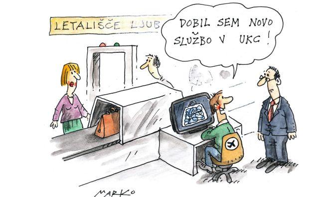 Pomanjkanje radiologov. Karikatura: Marko Kočevar