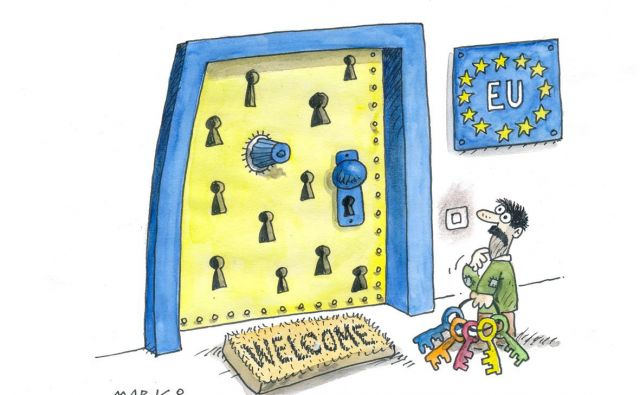 Glavni vhod. Karikatura: Marko Kočevar