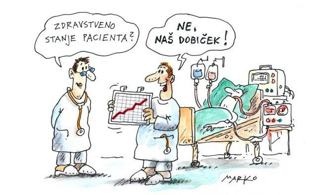 Uspešno okrevanje. Karikatura: Marko Kočevar