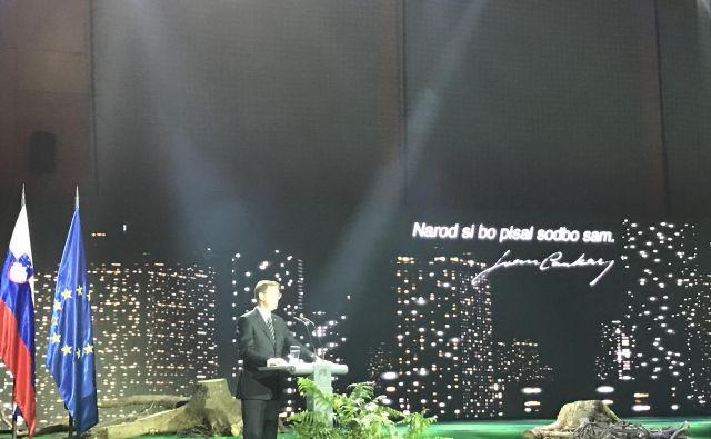 Miro Cerar med govorom na proslavi pred dnevom boja proti okupatorju. FOTO: Twitter/Miro Cerar