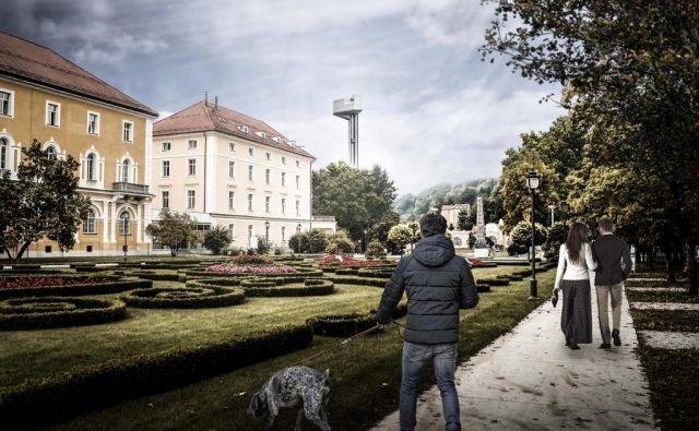 Nasprotniki stolpa opozarjajo, da jim bodo obiskovalci z razgledne ploščadi gledali na vrtove in v domove. FOTO: Arhiv Občine Rogaška Slatina