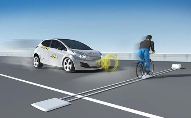 Euro NCAP je po preizkusu zaznavanja pešcev uvedel tudi test prepoznavanja kolesarja, ki pripelje s strani. FOTO: Euro NCAP