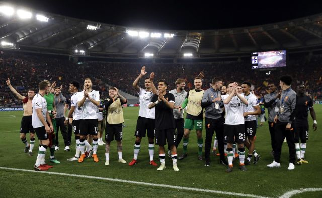 Veselje nogometašev Liverpoola po uvrstitvi v finale.