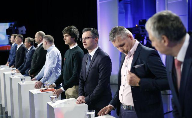 Prvo predvolino soočenje strank na RTV Slovenija. FOTO: Bla�ž Samec/Delo