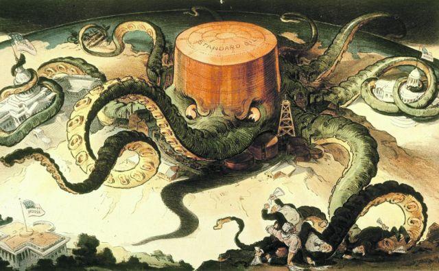Hobotnica ameriške korporacije Standard Oil iz leta 1904. Ustvaril jo je Udo J. Keppler.
