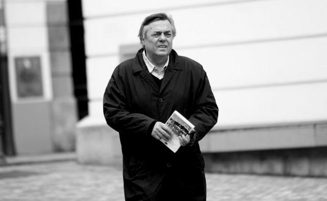 Drago Jančar pred predstavitvijo svoje nove knjige Mnoga življenja aprila.2018. FOTO: Roman Š�ipić/Delo