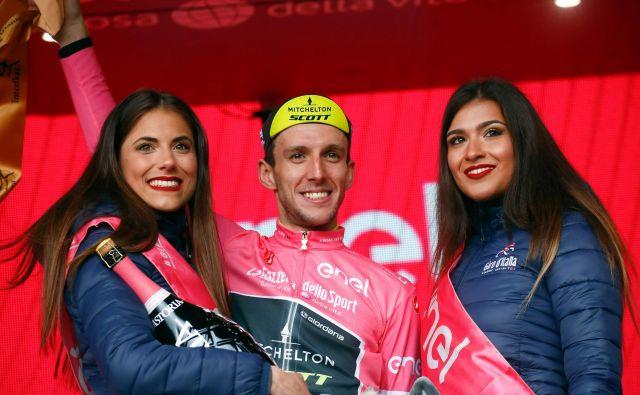 Simon Yates je novi nosilec rožnate majice. FOTO: Luk Benies/Afp