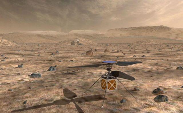 Mali helikopter bo baterije polnil preko sončnih celic. Vir Nasa