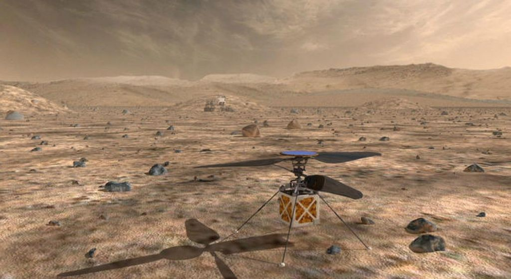 Nad Marsom še s helikopterjem