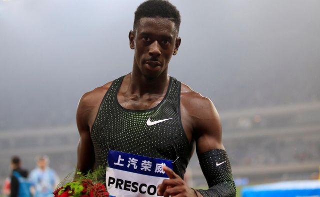Za eno od presenečenj Šanghaja je poskrbel Reece Prescod, ki je na deveti stezi zmagal v teku na 100 metrov. FOTO: Aly Song/Reuters