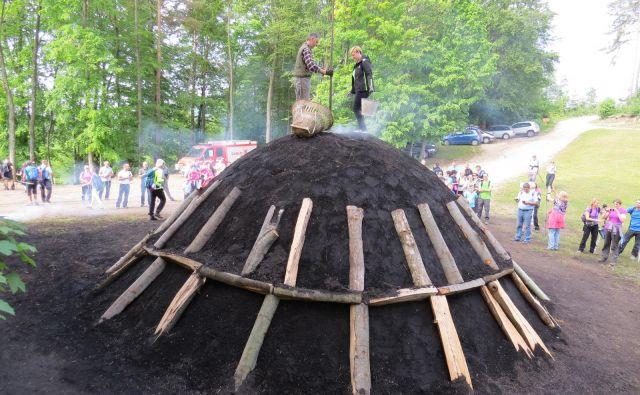 Izdelava oglarske kope je zahtevno opravilo. Postopek je povezan s pripravo kopišča, pripravo lesa, zlaganjem in pokrivanjem kope, kuhanjem in na koncu razdiranjem kope. FOTO: Bojan Rajšek/Delo