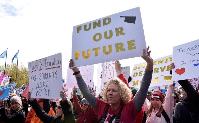V Oklahomi so učitelji sami organizirali protest, sindikat je imel le podporno vlogo. FOTO: Nick Oxford/Reuters