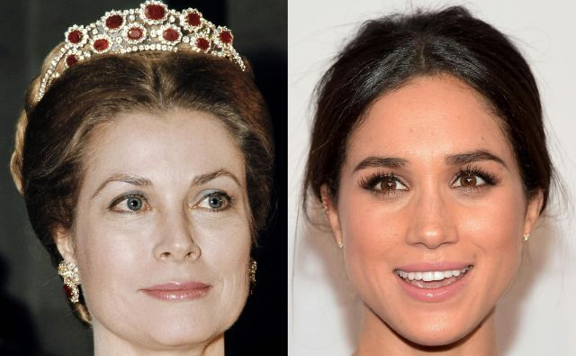 Pricesa Grace Monaška leta 1973 in Meghan Markle letos. FOTO: AFP
