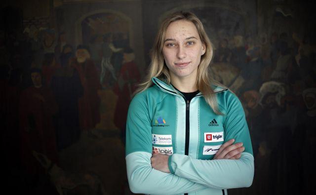 Janja Garnbret:»Trmasta sem. Vseeno mi je, kaj se dogaja, tudi če mi manjka pol noge, bom tekmovala, se trudila in borila.« Foto Blaž Samec/Delo