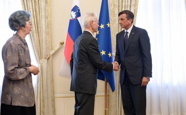 Borut Pahor in člana družine Hudnik. FOTO: Nebojša Tejić/STA