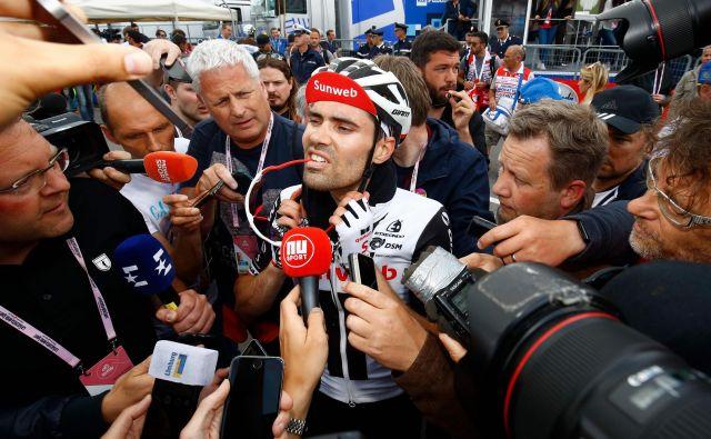 Tom Dumoulin bo do konca dirke zelo oblegan. FOTO: Luk Benies/Afp