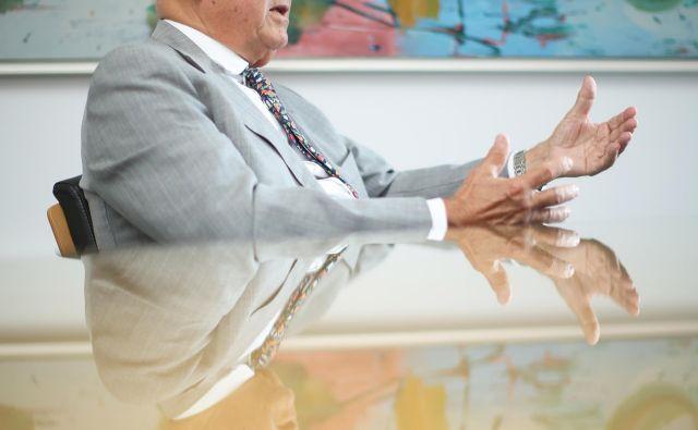 Janez Kocijančič nekdanji predsednik OKS in poslovnež, ki je pred dnevi dobil naziv Častni občan mesta Ljubljana, kljub 76 letom še ne razmišlja o upokojitvi. FOTO: Jure Eržen/delo/