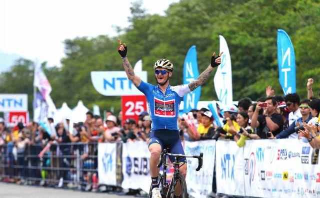 Grega Bole je slavil na predzadnji etapi dirke po Japonski. FOTO: Bahrain Merida
