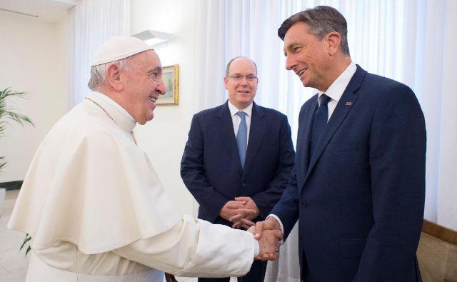 Papež Frančišek, Albert II. in Borut Pahor FOTO: Vatican Media