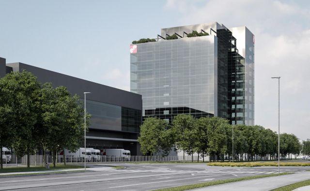 Logistično-distribucijski center ob Letališki cesti v ljubljanskih Mostah, kot so si ga zamislili v Mercatorju, bo večinoma zgrajen prav iz kupnin za poslovno odvečne nepremičnine. Foto arhiv Mercatorja