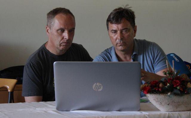 Levo Igor Robida, Sindikati Štajerske, desno Gvido Novak, predsednik Konfederacije slovenskih sindikatov. FOTO: Brane Piano/Delo