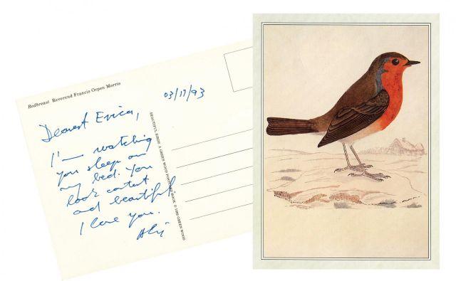 Erica piše tudi o razglednicah, ki jih je pošiljal njej. Dve, ki sta ji še posebej blizu, sta natisnjeni v knjigi. Ljubezenski zapis. FOTO: iz Knjige Saj grem samo mimo