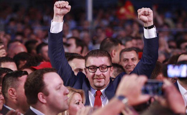 Na protestih je predsednik stranke <strong>Hristijan Mickoski </strong>(na fotografiji) tudi pozval k predčasnih volitvam.