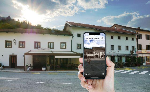 S pomočjo računalniškega vida se stare fotografije kot kolaž zlepijo s pogledom kamere mobilnega telefona. FOTO: Fundacija Poti miru v Posočju