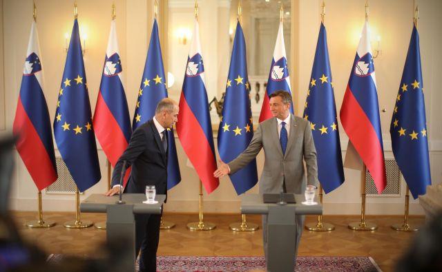 Zmagovalec volitev Janez Janša pri predsedniku Borutu Pahorju. FOTO: Jure Eržen