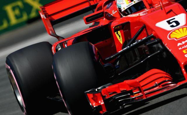 Sebastian Vettel je prekinil Ferrarijev kvalifikacijski urok v Montrealu. Foto Mark Thompson/AFP
