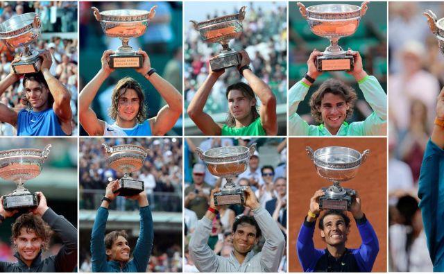 Od leta 2005 se je v svetu marsikaj spremenilo, na Roland Garrosu so nekatere stvari vseskozi ostale enake – enajstkrat je bil v tem času zmagovalec Rafael Nadal. Foto Afp