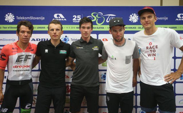 Zmeneča imena letošnje dirke po Sloveniji - Rigoberto Uran, Rafal Majka, Primož Roglič, Mark Cavendish in Marcel Kittel.