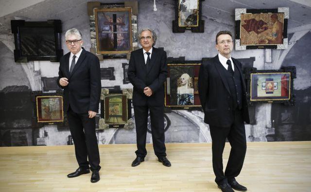 Miran Mohar, Dušan Mandič in Roman Uranjek, pred otvoritvijo razstave Irwinov v galeriji AS.