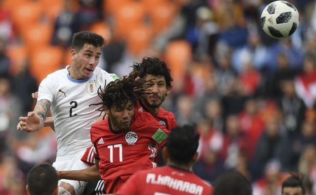Jose Gimenez je vendarle strl Egiptovski odpor. Foto Jorge Guerrero/AFP