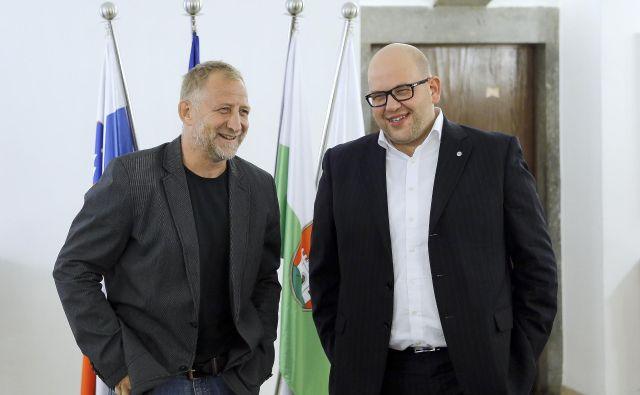 Tomaž Vnuk (levo) bo poslej športni direktor SŽ Olimpije, Miha Butara pa predsednik. Foto Blaž Samec