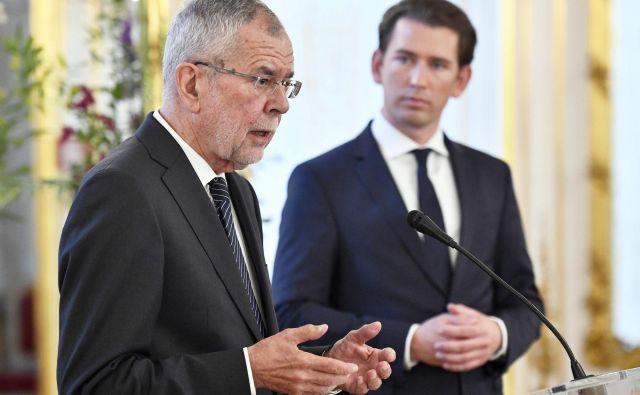 Avstrijski predsednik Alexander Van der Bellen (levo) in kancler Sebastian Kurz sta ostro obsodila vohunjenje med prijatelji. FOTO: AFP