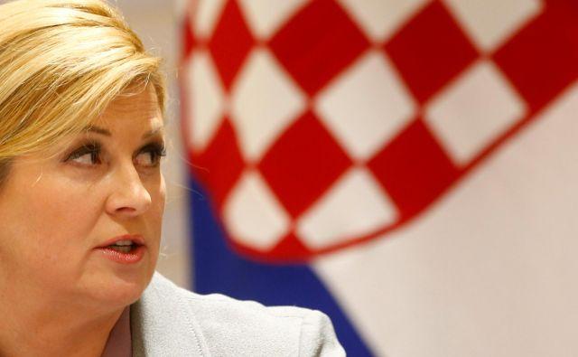 Kolinda Grabar Kitarović je na predstavitvi ukrepov za demografsko revitalizacijo Hrvaške obupano ugotovila: »Ogrožen je obstoj naroda in države.« FOTO: Reuters