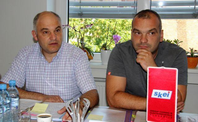 Mirko Hirci, sekretar Regijske organizacije SKEI Celje in Siniša Tadič, predsednik sindikata SKEI Štore Steel.