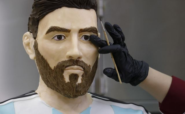 Čokoladni Messi je zahteval veliko dela. FOTO: Reuters