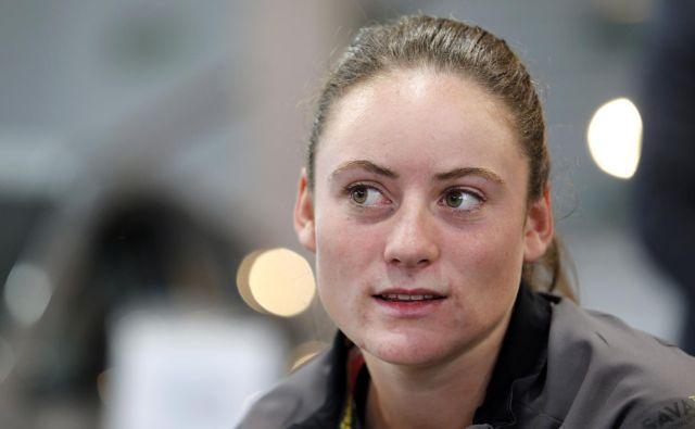 Tamara Zidanšek se je uvrstila v drugo kolo kvalifikacij Wimbledona. Foto Matej Družnik/Delo