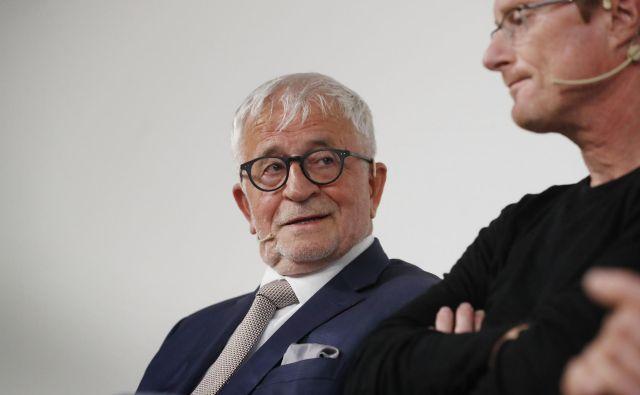 Portretiranec in njegov biograf. Peter Čeferin in Tadej Golob.<br /> FOTO: Leon Vidic