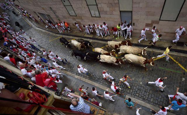 Nekaj bikov jw zašlo z načrtovane poti teka, ki se je zaključil v manj kot treh minutah. FOTO: Alvaro Barrientos/Ap