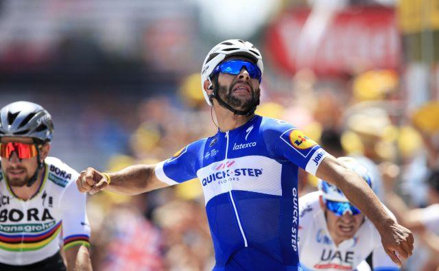 Fernando Gaviria je na prvi etapi na Touru doslej v karieri opravil s konkurenco. Foto Peter Dejong/AP