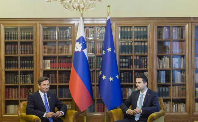 V vili Podrožnik sta se sestala najvišja politična funkcionarja v državi, predsednika republike in državnega zbora, Borut Pahor in Matej Tonin. FOTO: Voranc Vogel