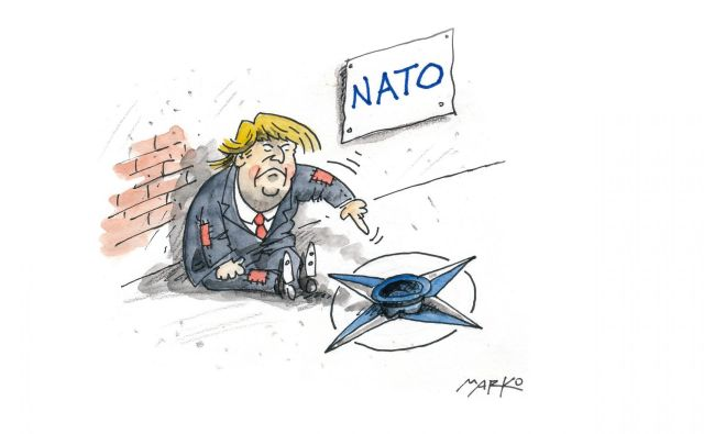 Trump in Nato KARIKATURA: Marko Kočevar