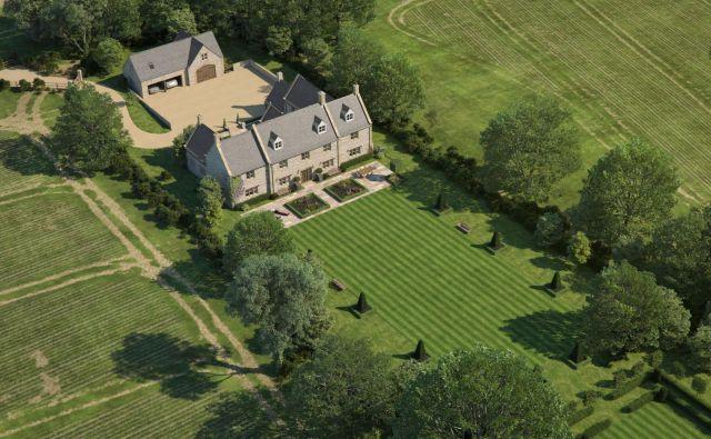 Računalnika slika dvorca, ki bo zamenjal dotrajane kmetijske objekte.