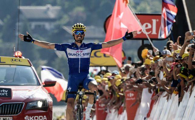 Julian Alaphilippe je v velikem slogu dobil prvo alpsko etapo Toura. FOTO: AFP