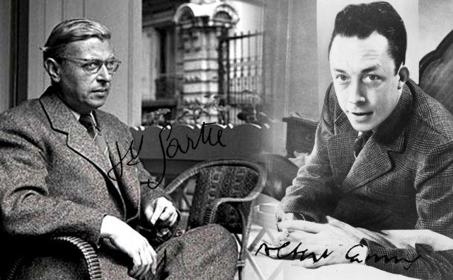 Filozofa in pisatelja Jean-Paul Sartre (levo) in Albert Camus sta bila velika ljubitelja nogometa, Camus je igral v mladinski reprezentanci Francije. FOTO: Wikipedia
